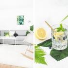 Sommerliche Gin Cocktails und tropische Accessoires