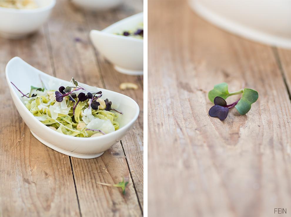 Bärlauchpasta Nudel mit Olivenöl und Parmesan