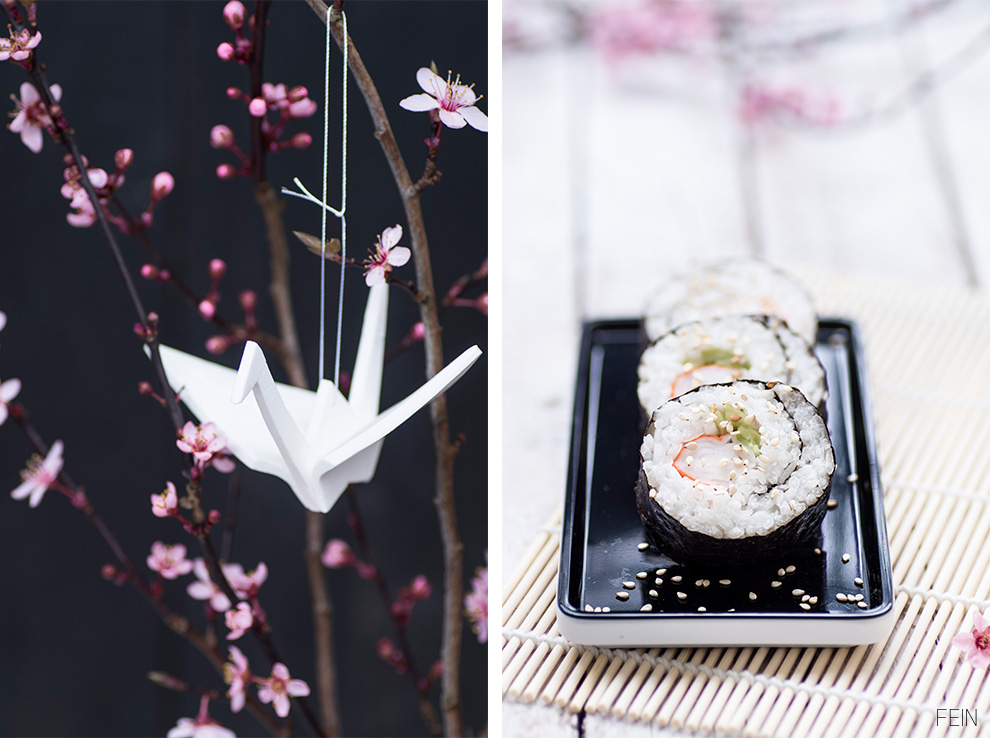 Kranich Kirschblüten Sushi