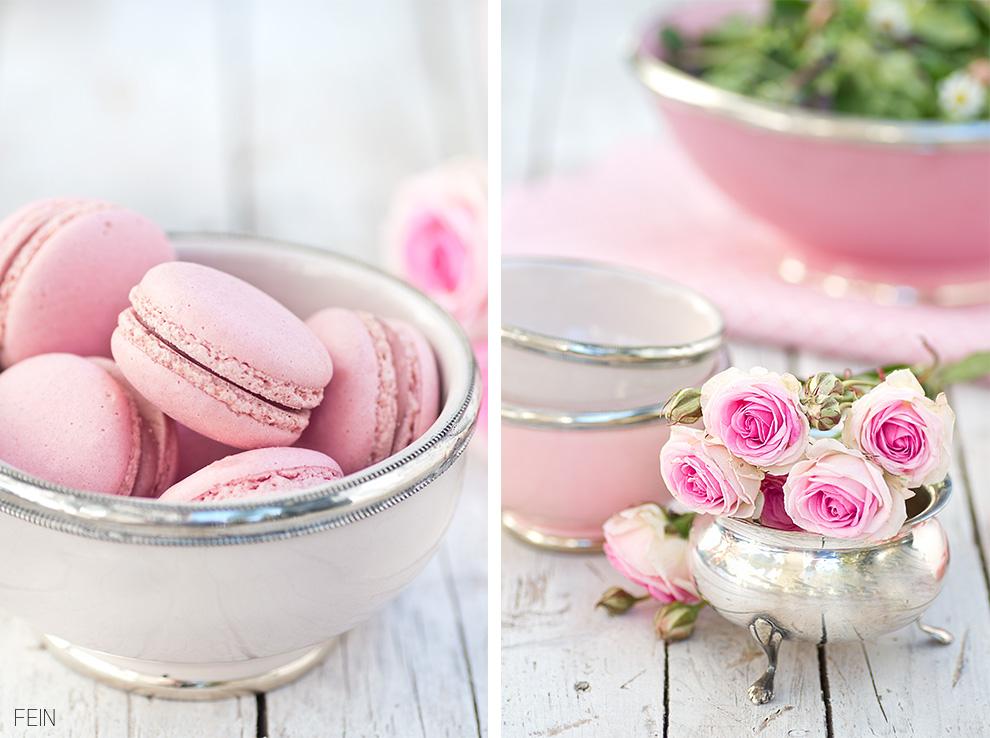 Pinke Rosen rosa Macarons