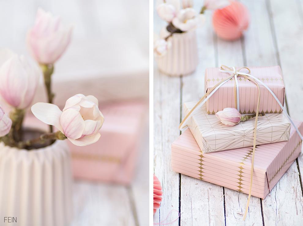 rosa gold Geschenkpapier
