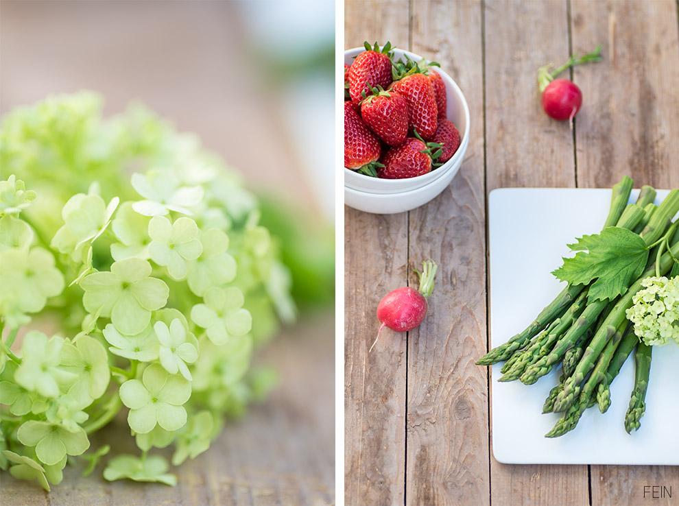 Grüner Spargel Erdbeere Radischen
