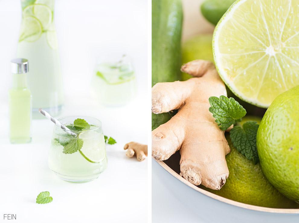 Limonade Limetten Ingwer