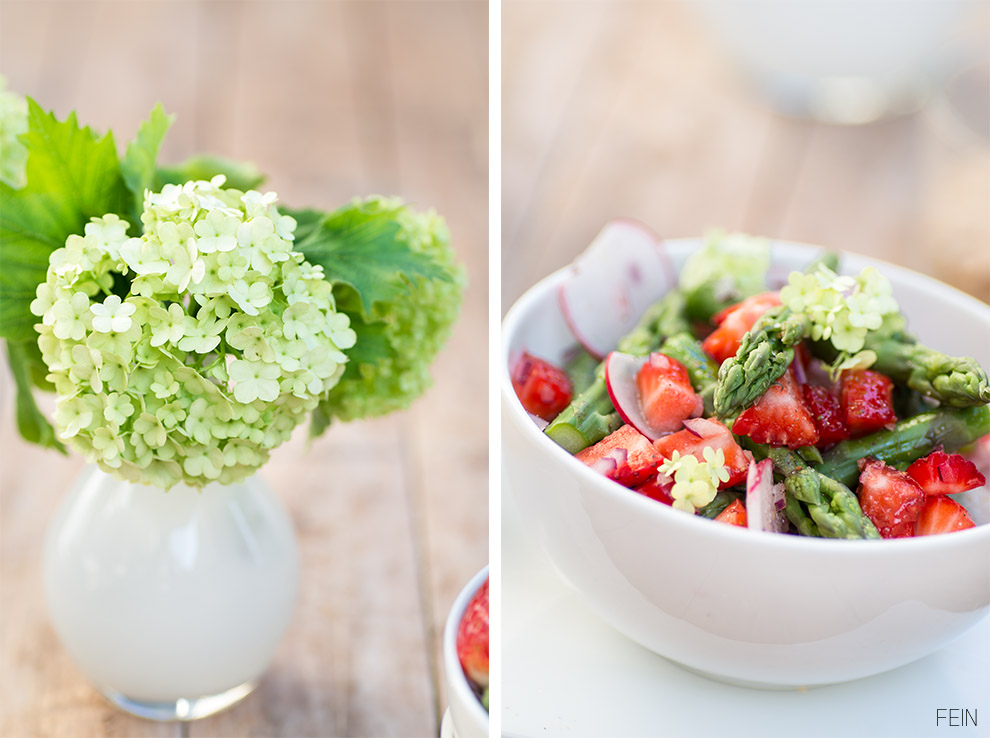 Schneeball Blume Erdbeer Spargel Salat