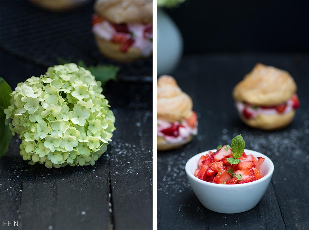 Klassische Windbeutel Schneeball Blume Puderzucker Erdbeeren