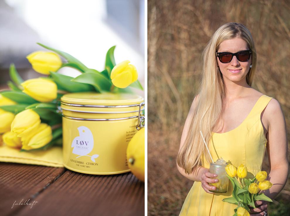 Lov Tee gelbes Kleid Tulpen Garten
