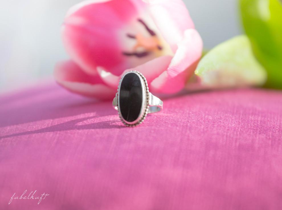 Ring Jugendstil Onyx Silber Antik