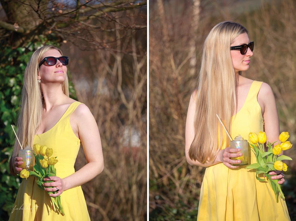 Sonnenbrille Tom Ford gelbes Kleid Ralph Lauren