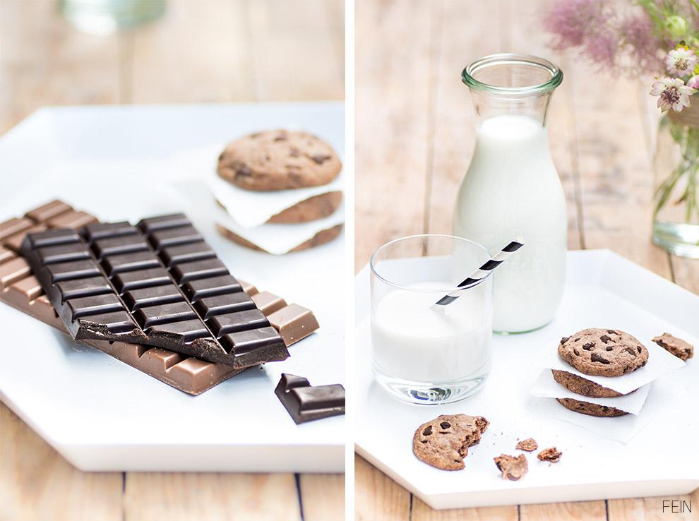 Cookies Milch und Schokolade