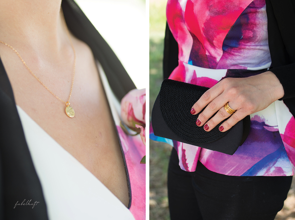 Mia&Martha Schmuck Gold Dressy Ring Gold Pfingstrose Pink Peeptoe The Dot Kette Black and Pink