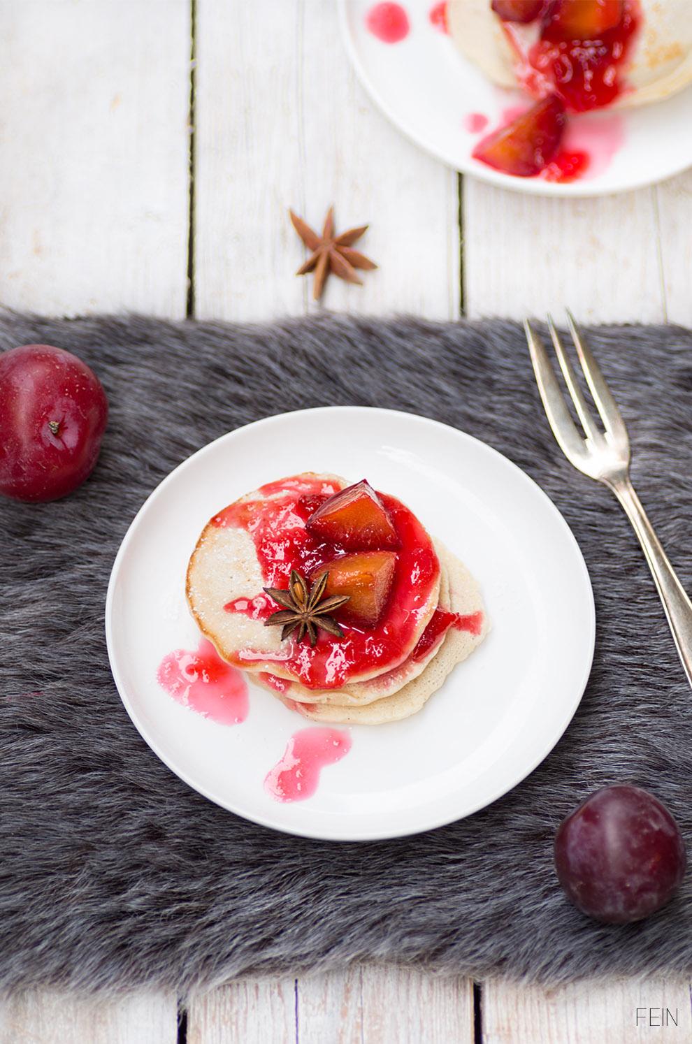 Pancakes Winter Pancake vegan Pflaumen