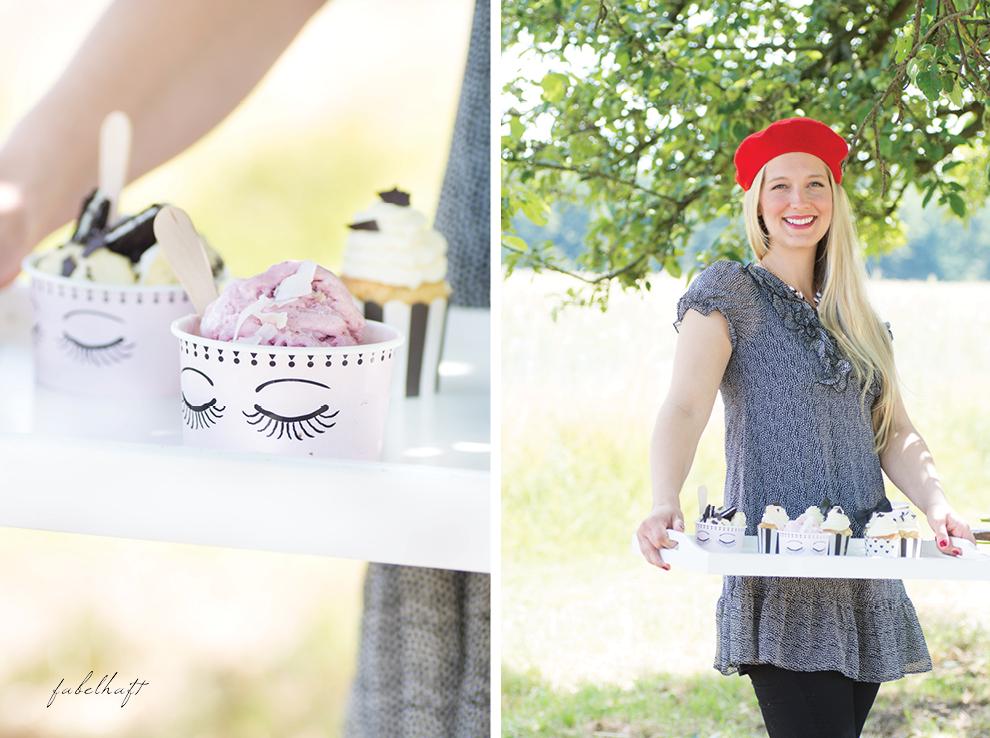 Miss Etoile Eisbecher mit Holzstielen Les Yeux Oreoeis Backset Glamour Parisien Holztablett Chiffonkleid