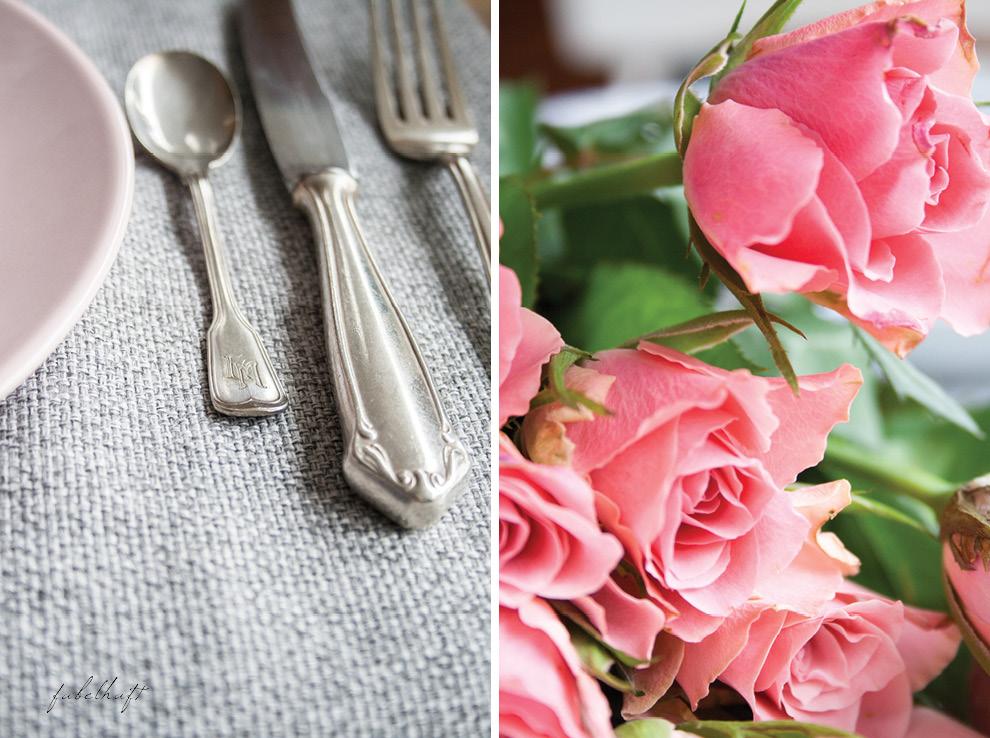 Antikes Besteck Silberbesteck Monogram Rosen Pink Rosa