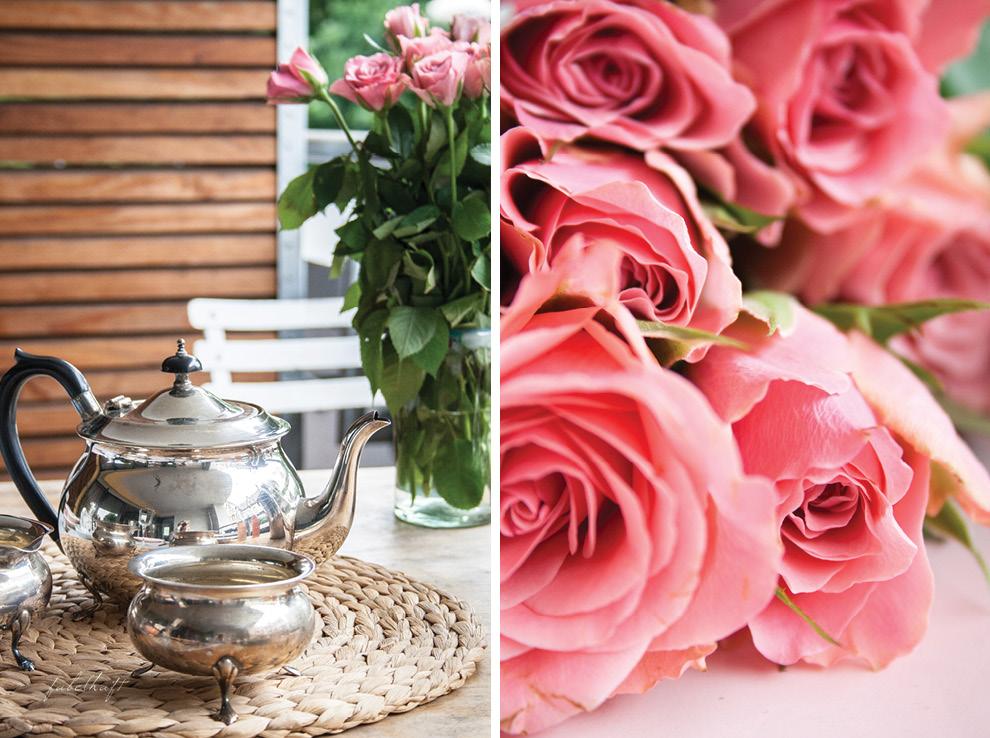 Englisches Teeservice antik Ebenholz Silber Rosen