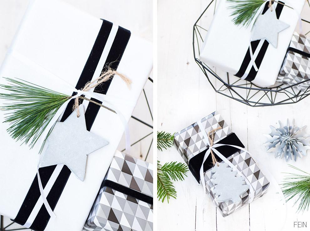 Geschenke Weihnachten schwarz weiß