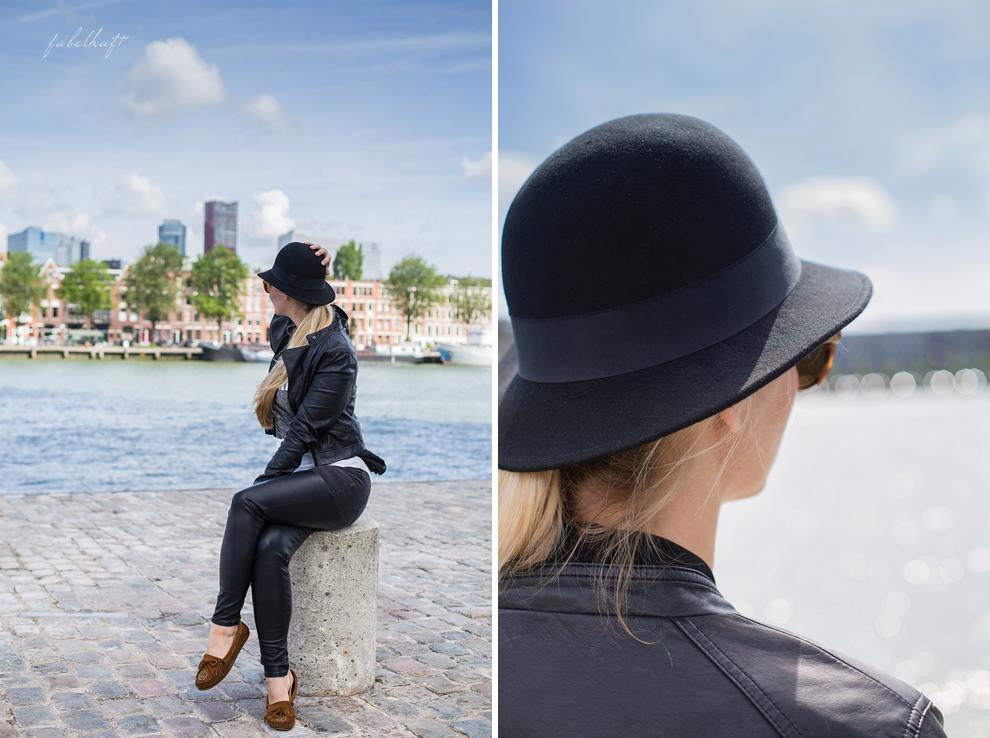 Rotterdam Hafen Lederhose Lederjacke Grunge Wollhut Urban Street Style Maas Niederlande