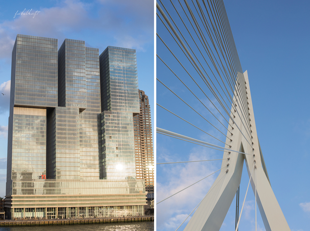 Rotterdam Niederlande Erasmusbrücke De Rotterdam Tower Nhow Hotel Maas