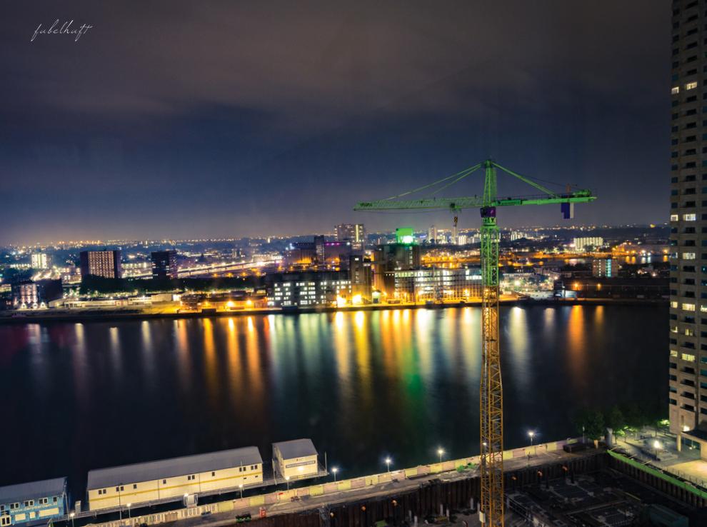 Rotterdam Skyline by night Nacht Lichter Hochäuser Hafen City