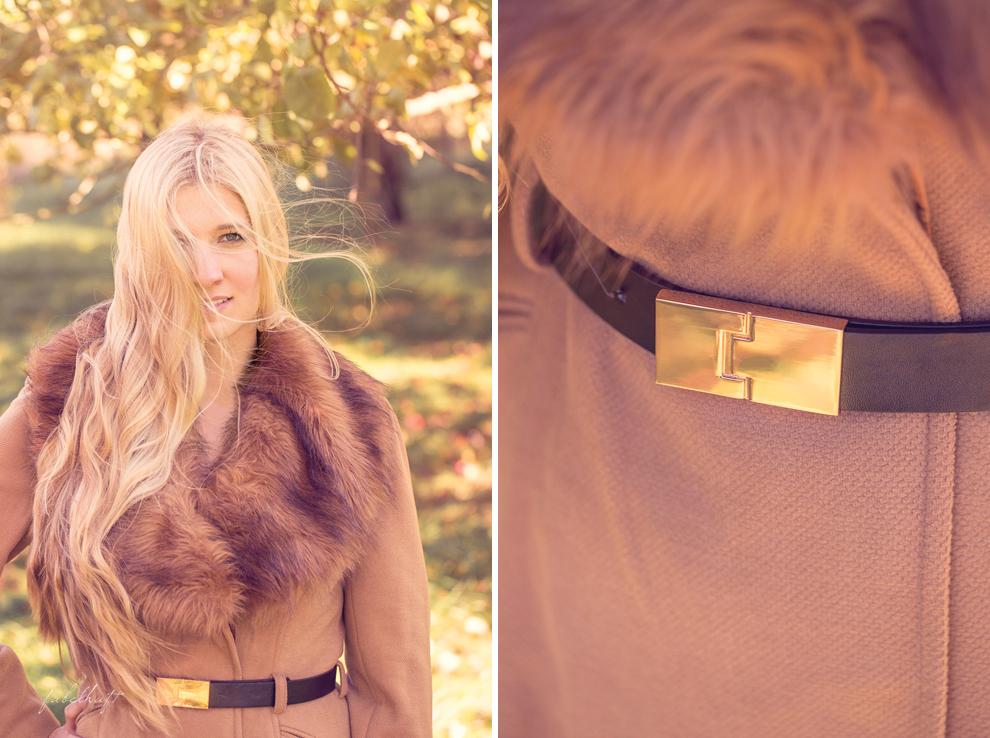 Blond Mantel Beige Pelz Faux Fur Herbstrend Gold