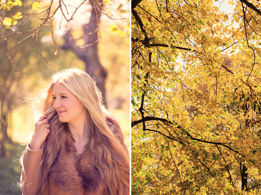 Herbstlaub Herbstwald Fashion goldener Herbst Mantel