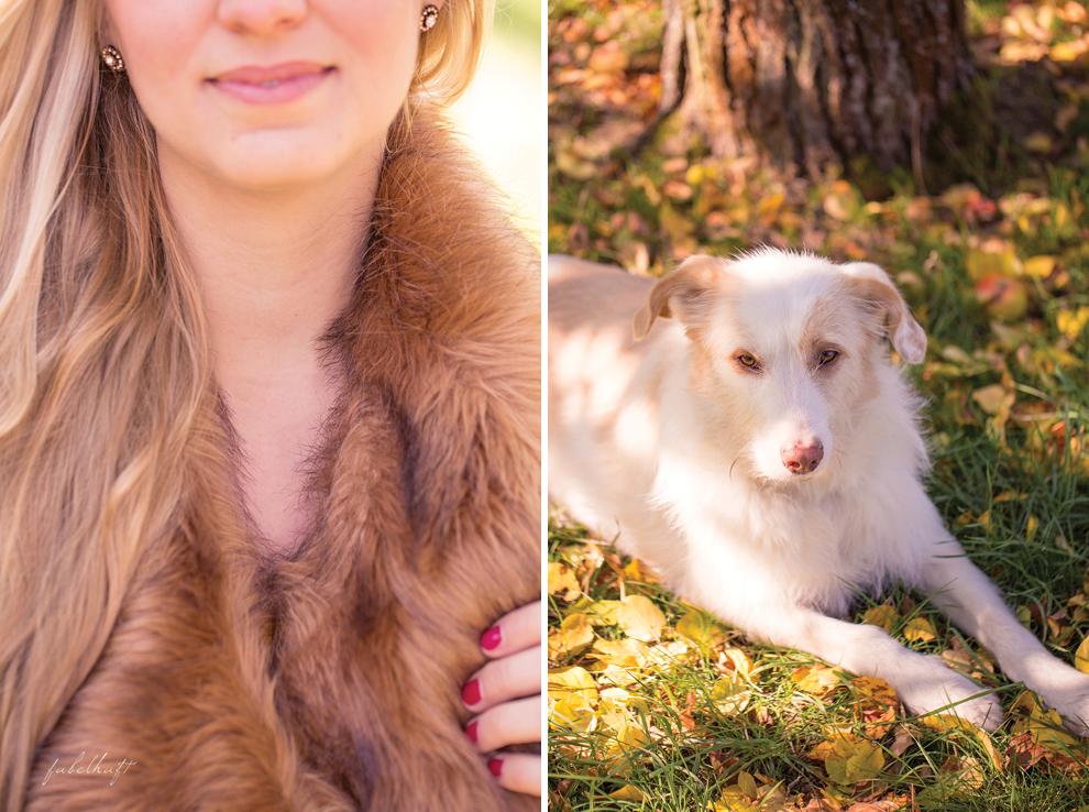 Herbsttrend Hund Wald Fashion Mantel Beige Blond Faux Fur Fashion
