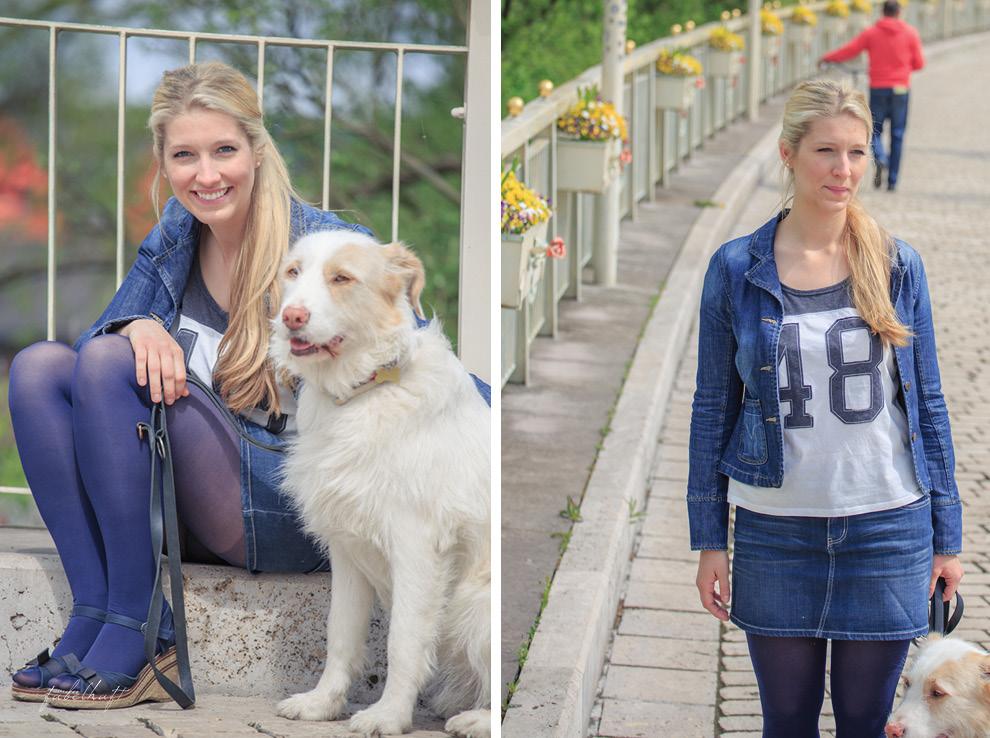 Blau Style Hund Jeand Denim Keilabsatz