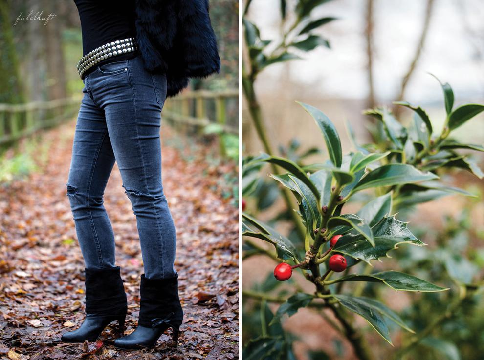 Bloggerfashion Weihnachtstrend Nietengürtel Felljacke Lederhandschuhe rocking christmas