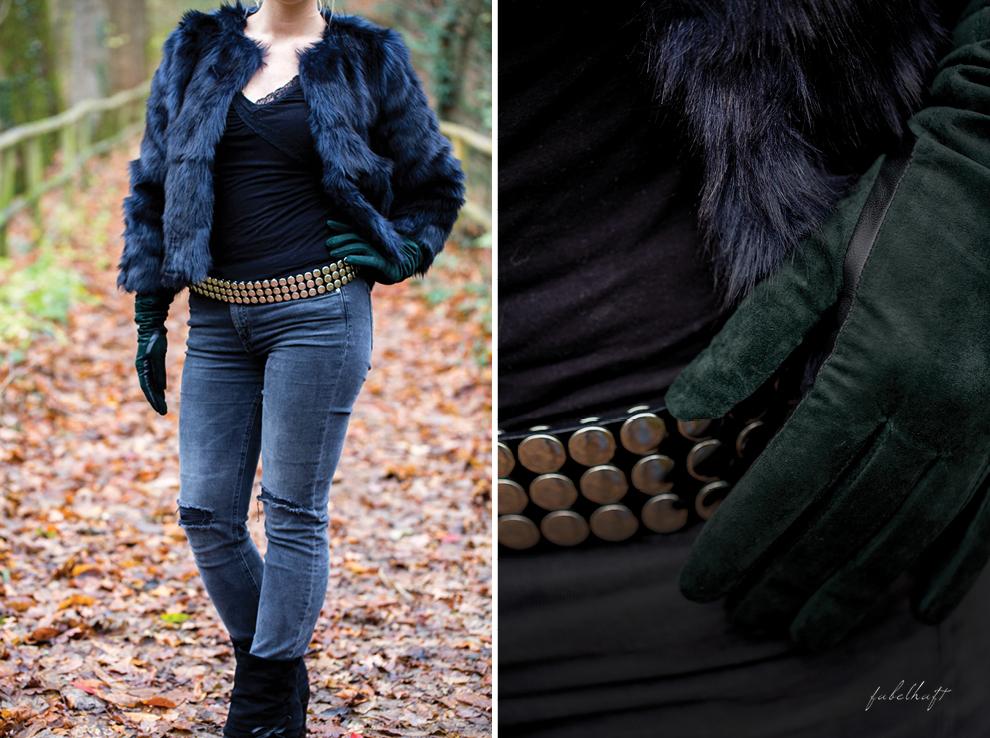 Lederhandschuhe Tannengrün Felljacke Fashion Trend Winter Christmas