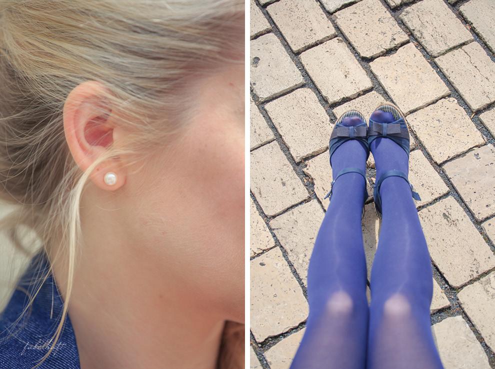 Perlenohrring Blue Tights Sandalen Keilabsatz
