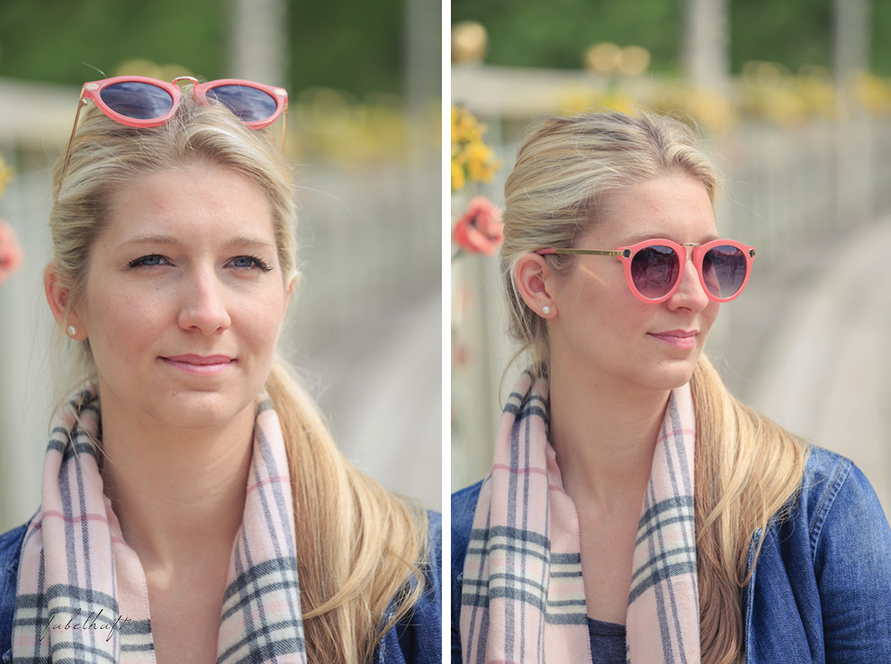 Sonnenbrille Rosa Blond Blau Jeansjacke Demin