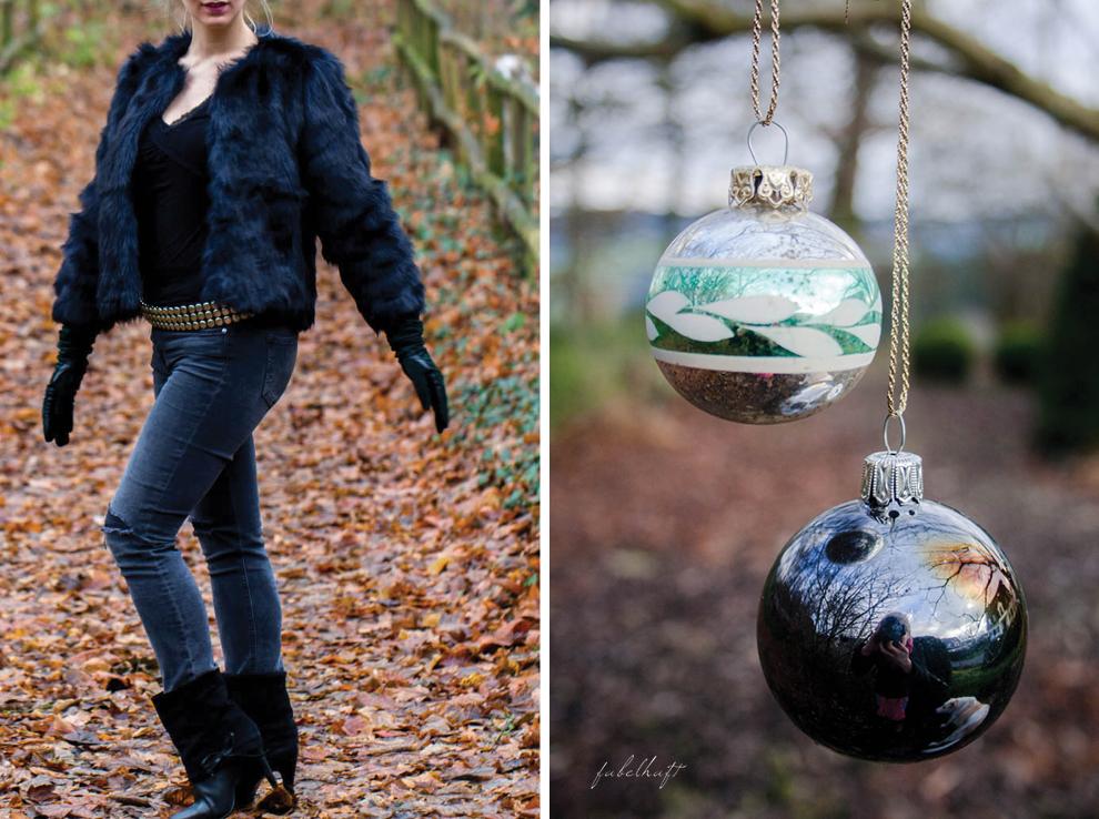 Weihnachtsoutfit rockig Nietengürtel Felljacke Black is Beautyful Schwarz Leder