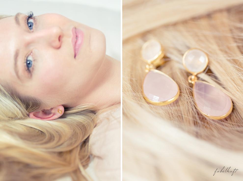 Mia&Martha Schmuckmanufaktur Gold Kleeblatt Ohrstecker Ohrhänger Chalzedon Blond Hair Glitzershirt Lipstick MAC