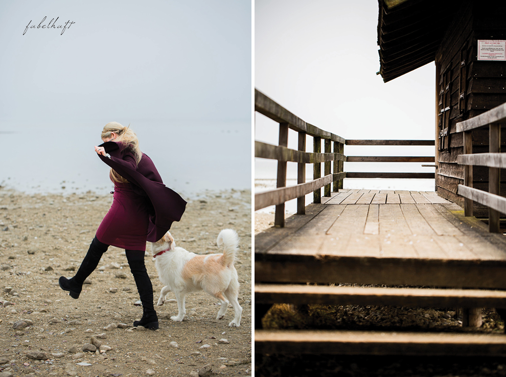 Chiemsee Bayern Seeufer Winteroutfit Hund Blong Wasserfallmantel OVerknees
