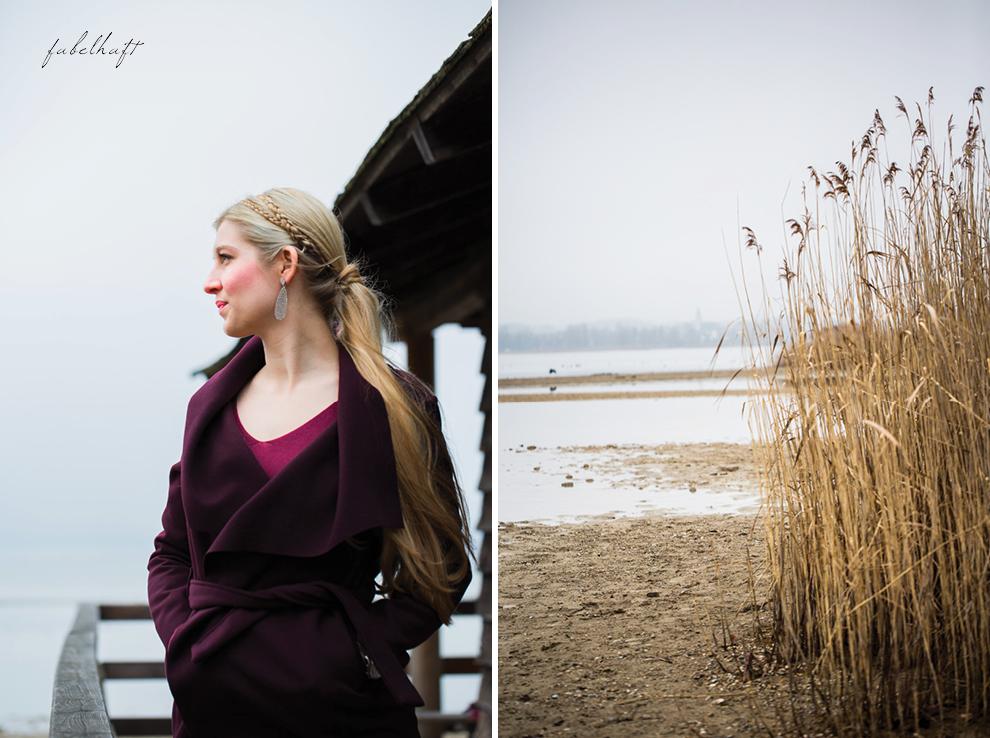 Chiemsee Winterurlaub Wasserfallmantel Blond Bordeaux Seegras Seeufer Winteroufit