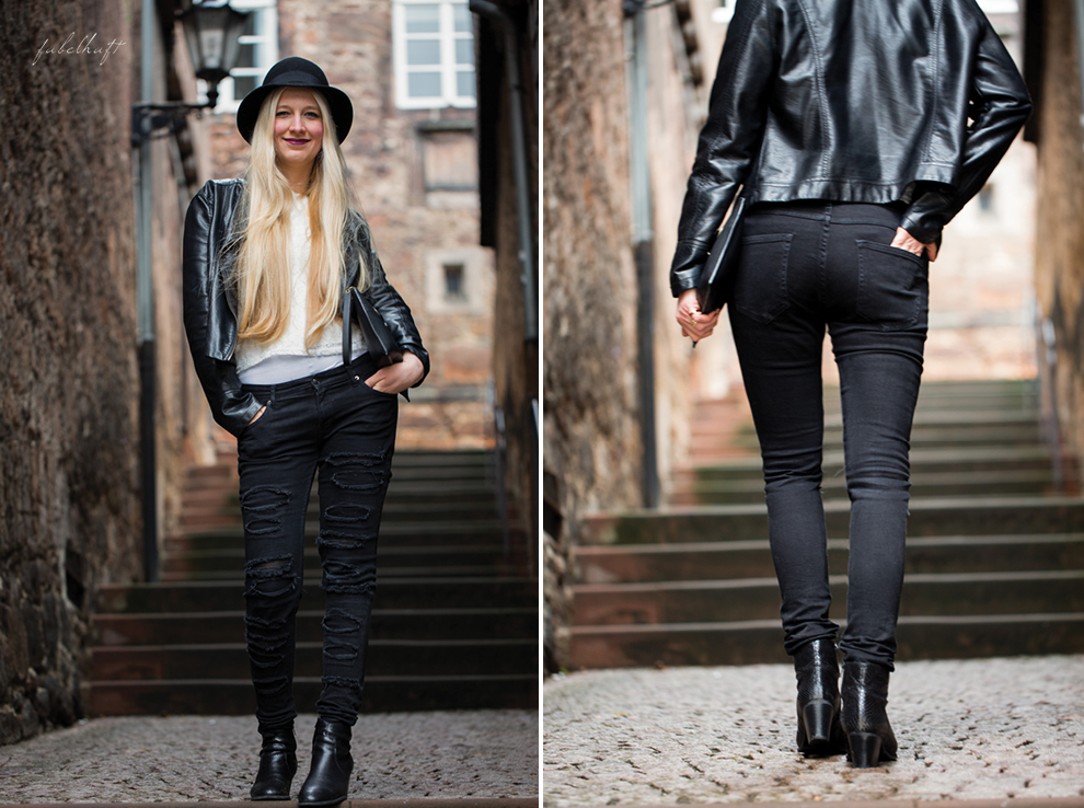 Grunge Punkt Black Leder leather Hut hat Black&white Clutch Streetstyle Trend 2016 Urban 1