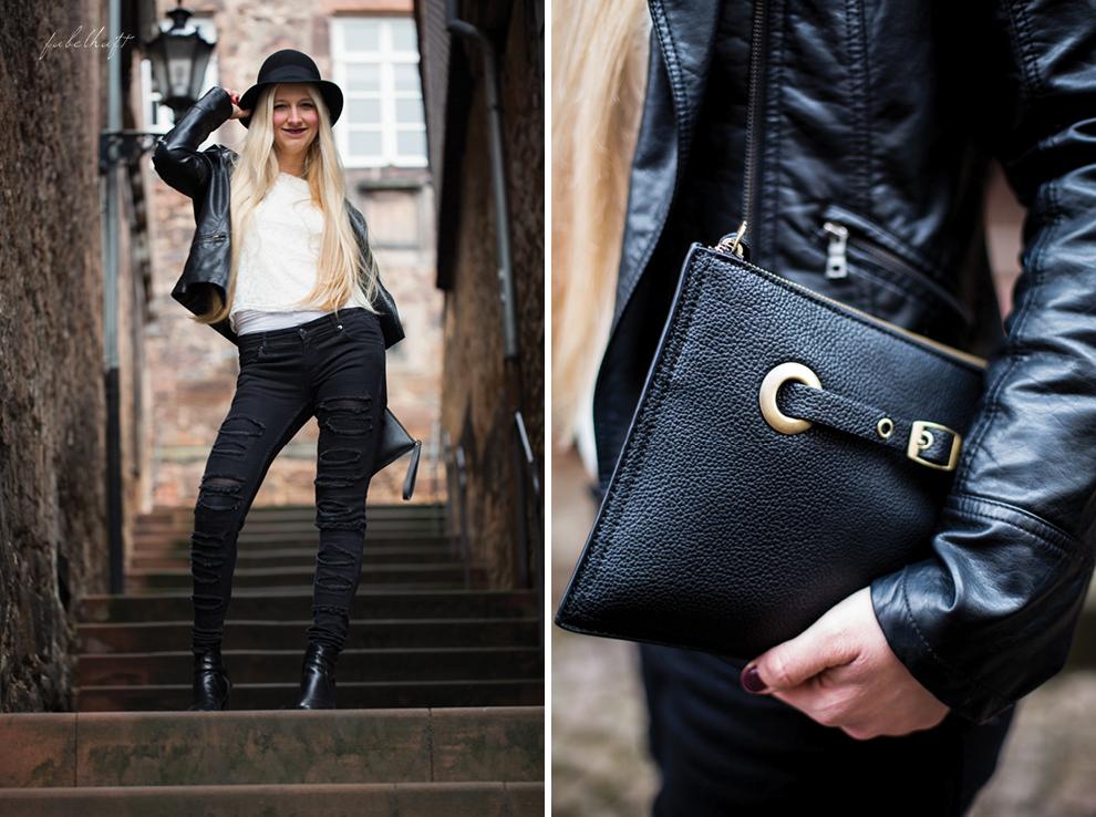 Grunge Punkt Black Leder leather Hut hat Black&white Clutch Streetstyle Trend 2016 Urban 2
