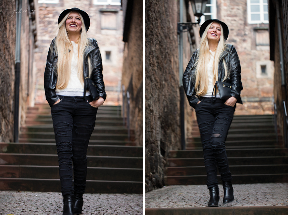 Grunge Punkt Black Leder leather Hut hat Black&white Clutch Streetstyle Trend 2016 Urban 3