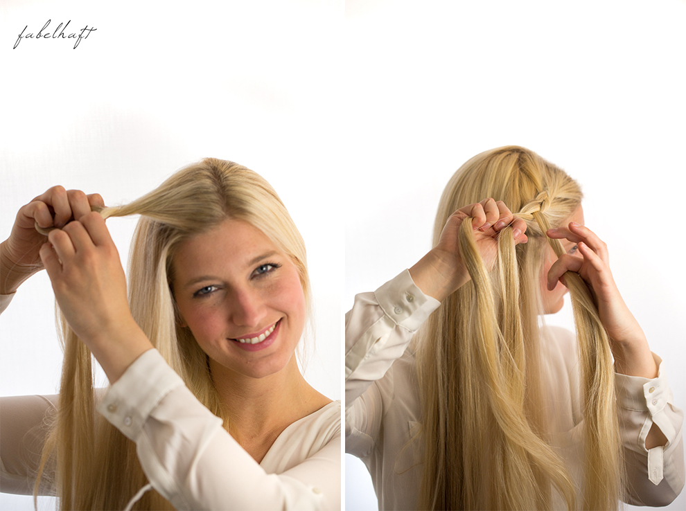 Basler Haarkosmetik langes Haar Blond Tutorial Frisuren Urban Hairstyle Messy Bun Loose Waves Dutch Crown Braid 10