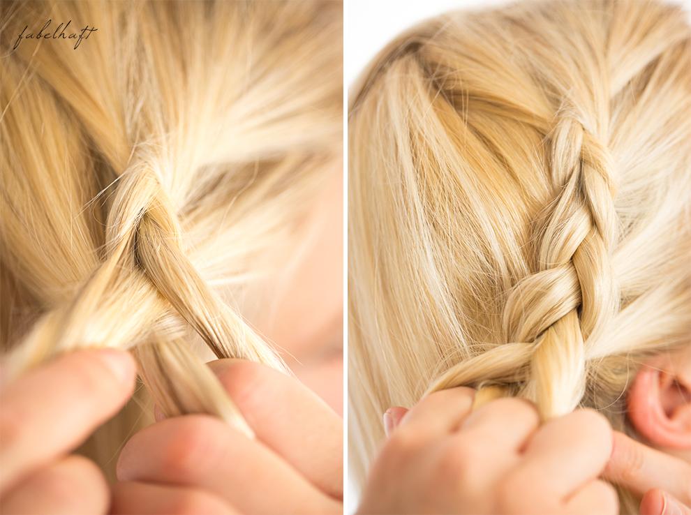 Basler Haarkosmetik langes Haar Blond Tutorial Frisuren Urban Hairstyle Messy Bun Loose Waves Dutch Crown Braid 11