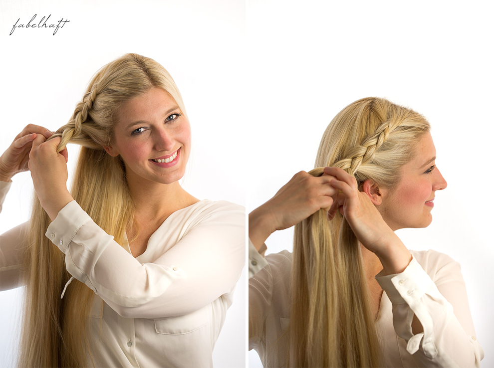 Basler Haarkosmetik langes Haar Blond Tutorial Frisuren Urban Hairstyle Messy Bun Loose Waves Dutch Crown Braid 12