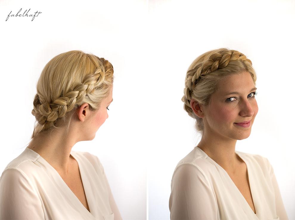 Basler Haarkosmetik langes Haar Blond Tutorial Frisuren Urban Hairstyle Messy Bun Loose Waves Dutch Crown Braid 15