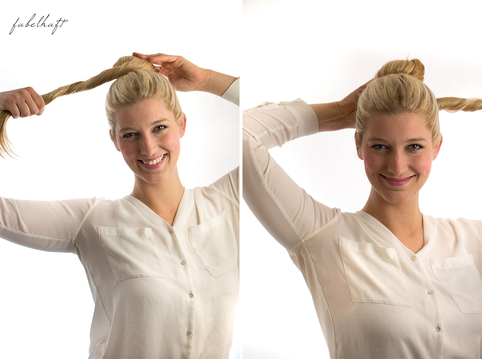 Basler Haarkosmetik langes Haar Blond Tutorial Frisuren Urban Hairstyle Messy Bun Loose Waves Dutch Crown Braid 7