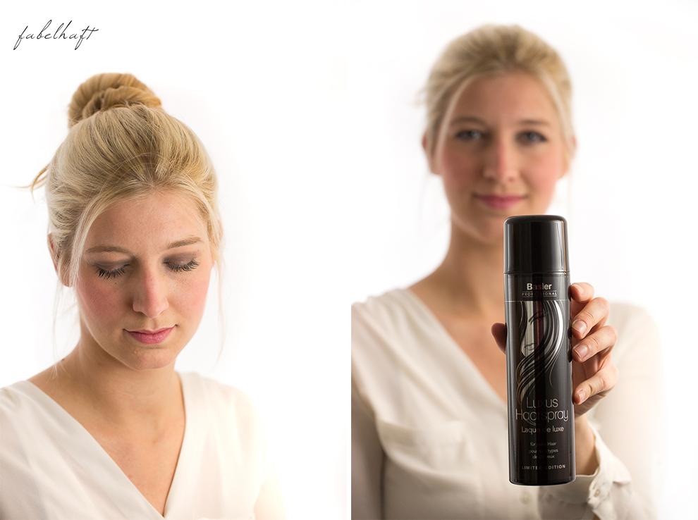 Basler Haarkosmetik langes Haar Blond Tutorial Frisuren Urban Hairstyle Messy Bun Loose Waves Dutch Crown Braid 9