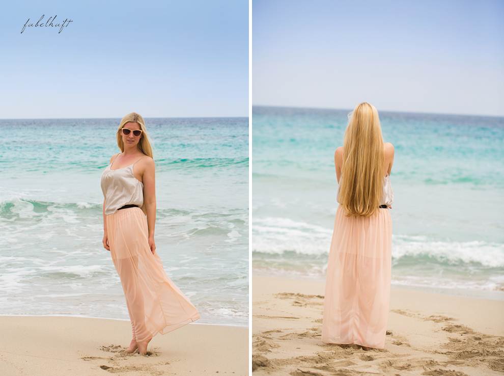 Mallorca spain travel balearen island blond beach fashion strandmode trend 2016 rosa Maxirock waves 3