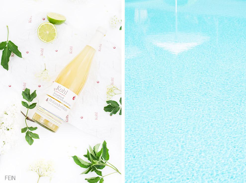 Sommerdrink Kohl Apfelsaft Pool