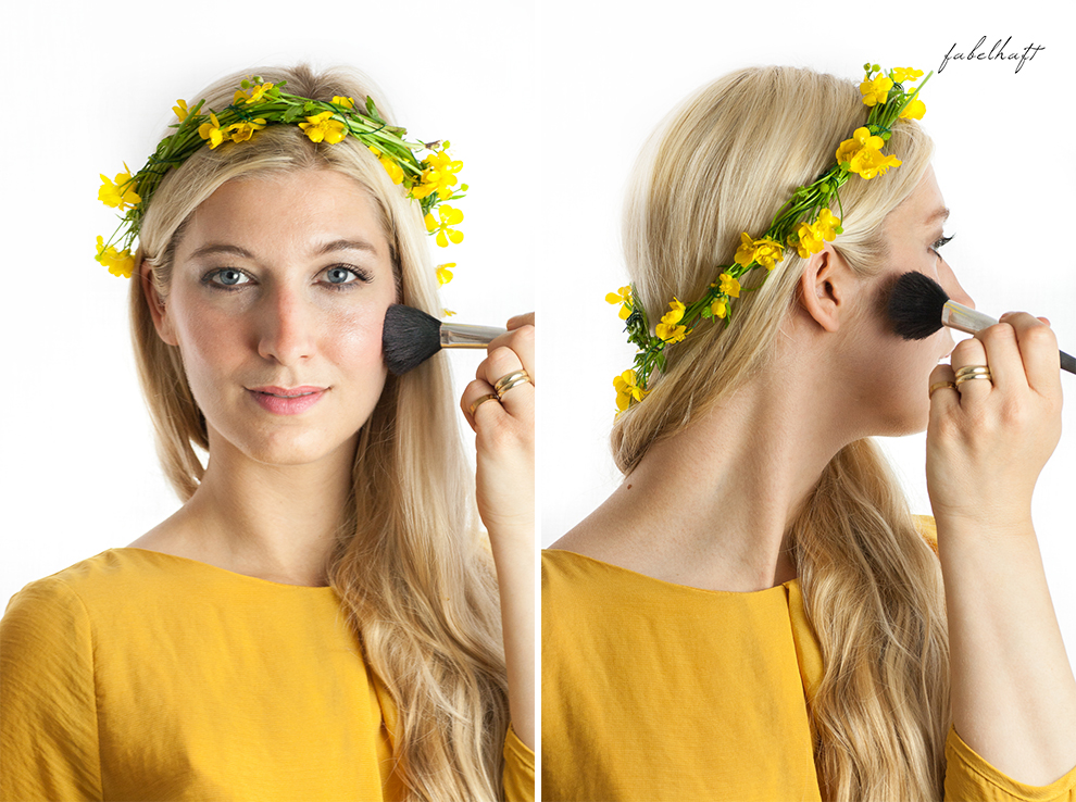 Living Nature Make-up Tutorial Frühlingsmakeup sommerlich gelb butterblumen fein und fabelhaft Eyeshadow Lipstick yellow dress kleid 2