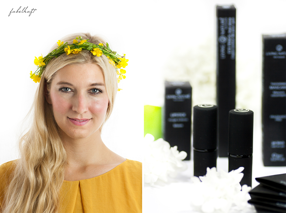 Living Nature Make-up Tutorial Frühlingsmakeup sommerlich gelb butterblumen fein und fabelhaft Eyeshadow Lipstick yellow dress kleid 6