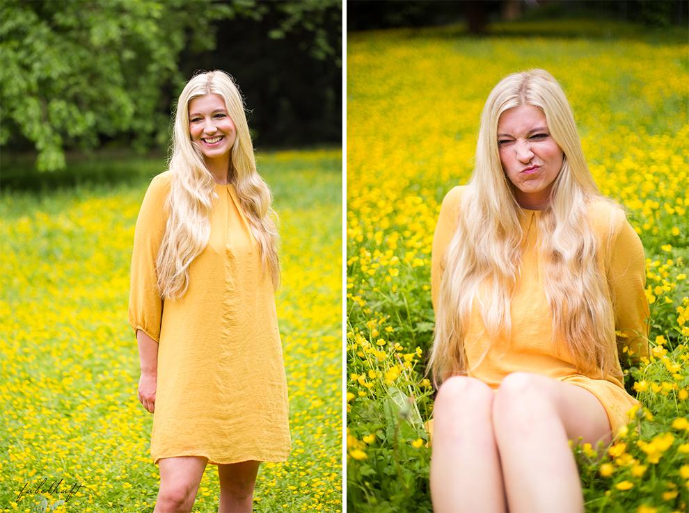 Living Nature Make-up Tutorial Frühlingsmakeup sommerlich gelb butterblumen fein und fabelhaft Eyeshadow Lipstick yellow dress kleid 10
