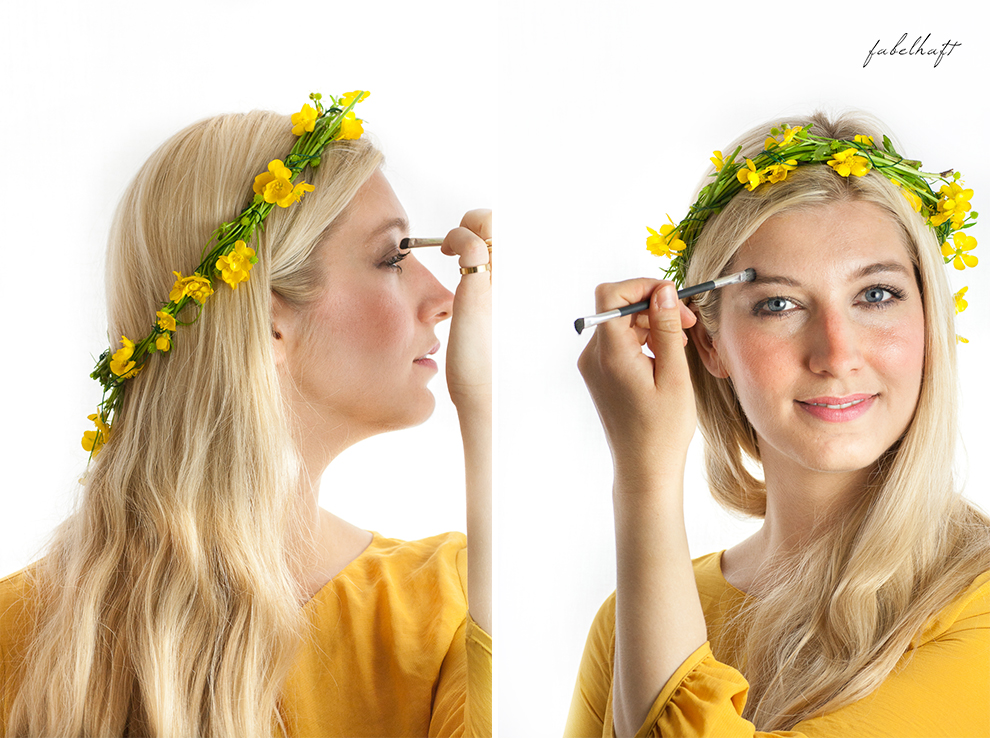 Living Nature Make-up Tutorial Frühlingsmakeup sommerlich gelb butterblumen fein und fabelhaft Eyeshadow Lipstick yellow dress kleid 3