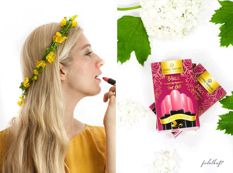 Living Nature Make-up Tutorial Frühlingsmakeup sommerlich gelb butterblumen fein und fabelhaft Eyeshadow Lipstick yellow dress kleid 5